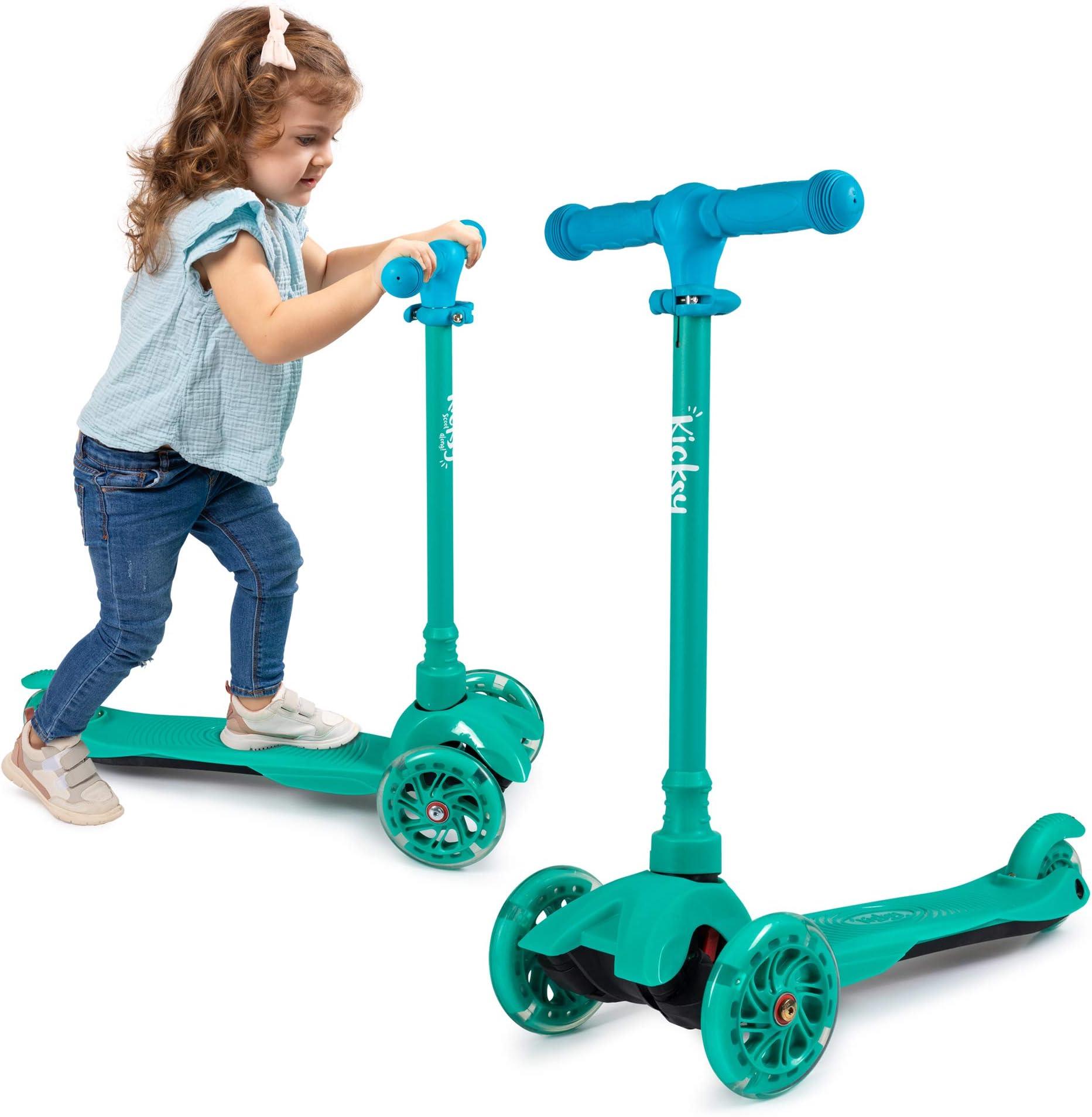 Kids Folding Kick Scooter For Girls Boys Ages 3-11 Wide Flashing Wheels Phoenix