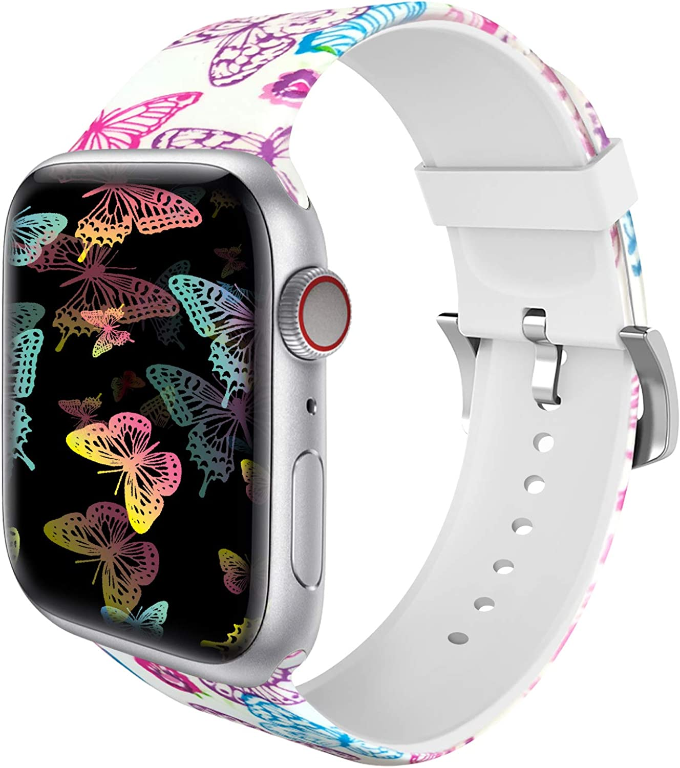 MITERV Compatible with Apple Watch Band 38mm 40mm 42mm 44mm Soft Silicone Fadeless Pattern Printed Replacement Bands for iWatch Series 6,SE,5,4,3,2,1