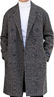 Mens Premium Houndstooth Mid Long Wool and Warm Walker Coat
