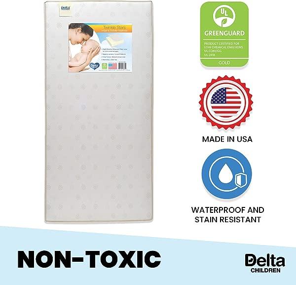 Delta Children Twinkle Stars Fiber Core Crib And Toddler Mattress Waterproof Lightweight GREENGUARD Gold Certified Natural Non Toxic