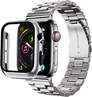 Graka Compatible for Apple Watch Band 42mm 44mm with 2 Pack case covers, XL Large Metal Replacement Strap Compatible Apple Watch Series SE/6/5/4/3/2/1 Smartwatch