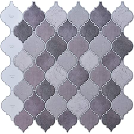 LONGKING Peel and Stick Tile Backsplash - Arabesque Tile Backsplash,Mosaic Backsplash Sticker,(10 Sheets)