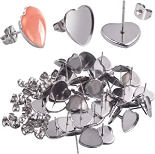 Earring Cabochon Settings, 40 Pieces Cabochon Stud Earrings Blank Heart Shape Earring Bezel Tray with 40 Pieces Butterfly Earring Safety Backs for Jewelry Making