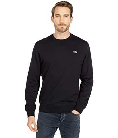 Lacoste Long Sleeve Solid Color Sweatshirt (Black/Black) Men