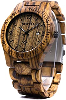 BEWELL Men Wrist Watch Japanese Quartz Analog Movement with Natural Zebra Wood Band and Calendar Luminous Pointers W086B
