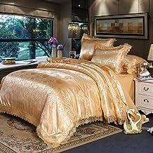 PYCLIFE غطاء لحاف كامل، فراش فاخر، أغطية لحاف من 3 قطع، أطقم سرير جاكار (ذهبي، كامل)
