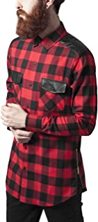 Urban Classics Side Zip Leather Shoulder Flanell Shirt Camisa para Hombre