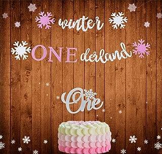 Set of 2 LaVenty Glitter Pink Winter Onederland Banner Winter Onederland Cake Topper Winter Baby Shower Decoration Winter Party Decoration