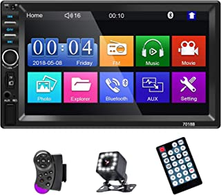 EKAT Double Din Car Stereo 7 Inch Touchscreen Digital LCD Monitor, with Bluetooth Mirror Link MP3/USB/SD/FM, Wireless Remo... photo