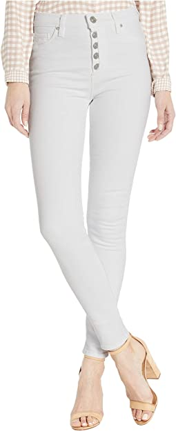 Barbara High-Rise Super Skinny Ankle Jeans with Exposed Buttons in White