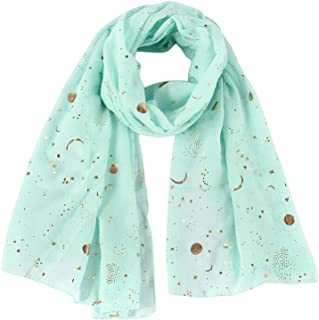 Cherryi Fashion Navy Star Moon Foil Gold Scarf For Womens Chirstmas Gifts
