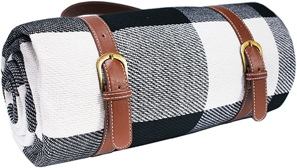 bluenergy Large Outdoor Picnic Blanket,3 Layers Water-Resistant Handy Spring Summer Black And White Checkered Picnic Blanket,Faux Leather Carrier Handle, Waterproof Sandproof 150cmX200cm