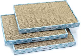 Vivaglory Reversible Cat Scratcher Cardboard with Box, Cat Scratching Pad Kitty Corrugated Sofa Lounge, Catnip Included