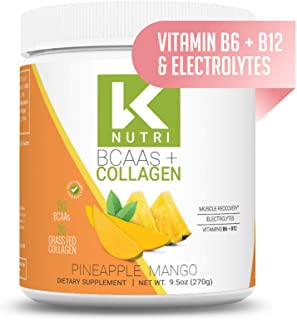 BCAA + Collagen Powder with Vitamin B6 and B12, BCAA Powder with Grass Fed Collagen Peptides, Energy and Sports Drinks wit...