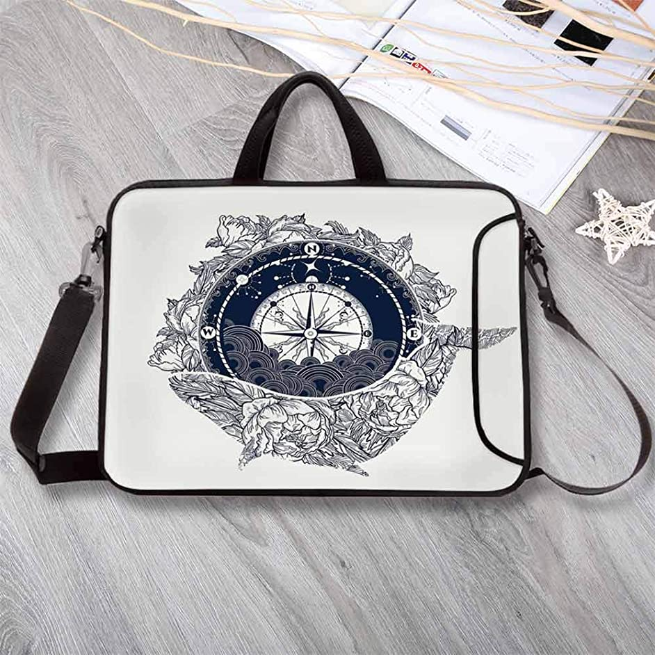 """Adventure Large Capacity Neoprene Laptop Bag,Antique Marine Compass and Floral Whale Figure Mystical Victorian Vintage Decorative Laptop Bag for 10 Inch to 17 Inch Laptop,12.6""""L x 9.4""""W x 0.8""""H"""