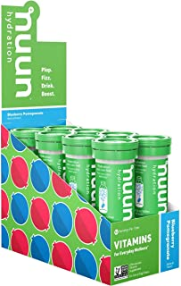 Nuun Vitamins: Vitamins + Electrolyte Drink Tablets, Blueberry Pomegranate, 8 Tubes (96 Servings)