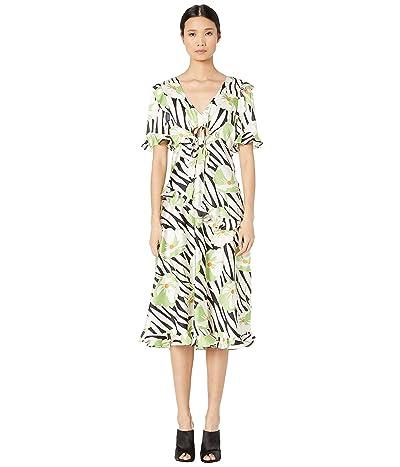 JILL JILL STUART Ruffle Detail Dress with Cut Out (Green Multi) Women
