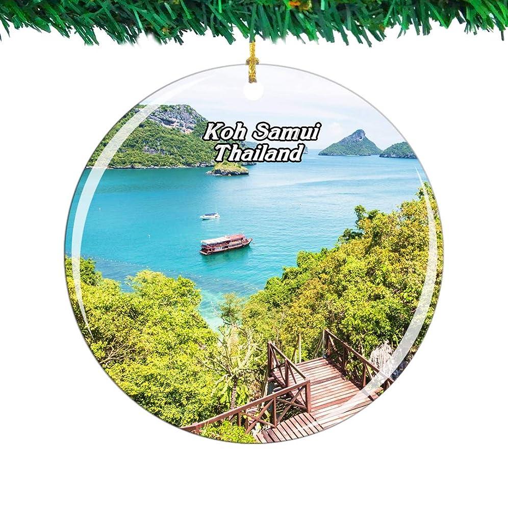 啓発するリレーかどうかWeekino タイパンガン島サムイ島クリスマスオーナメントシティ旅行お土産コレクション両面 磁器2.85インチ ぶら下がっている木の装飾