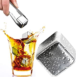 Beymill Whiskey Stones,Set of 4 Stainless Steel Whiskey Ice Cubes with Ice Tongs,Reusable Ice Cubes, No Water Dilution,Fit For Whiskey and Beverage Chilling,Whisky Gifts for Men(Chrome)