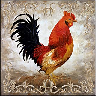 Ceramic Tile Mural - Rooster II - by Malenda Trick - Kitchen backsplash/Bathroom shower