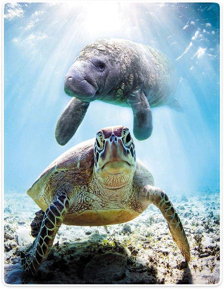 HommomH ◆セール特価品◆ Ocean Animal Blanket Manatees Turtles お見舞い Warm Fuzz Soft and