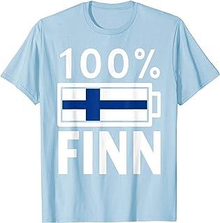 Finland Flag T-Shirt   100% Finn Battery Power Tee
