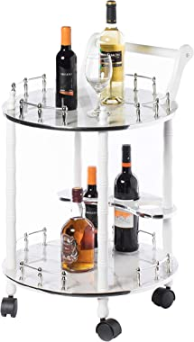 Bold Tones Round Wood Serving Bar Cart Tea Trolley with 2 Tier Shelves and Rolling Wheels, Silver, White and Gray, Grey