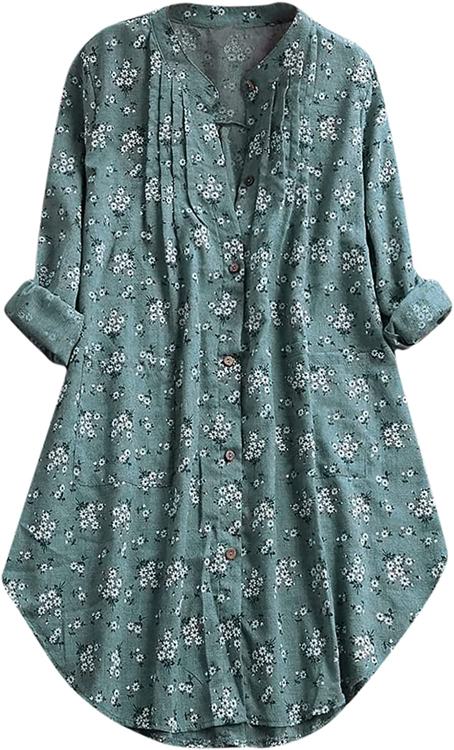 Plus Size Women Blouses, Cotton and Linen V-neck Long-sleeve Floral Print Buttoned Casual Tops Blouse
