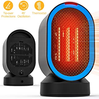Coolast Small Space Heater,Electric Personal Heaters for Office Ceramic Heaters with Tip-Over Overheat Protection/Oscillating Swing/Portable/2 Seconds Heat-up/for Desk Top/Bedroom/Home-600W
