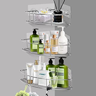 AXTEE Shower Caddy Shelf with Hooks: Shower Organizer Storage -Wall Mounted Bathroom Shelf- Rustproof Bathroom Accessories...