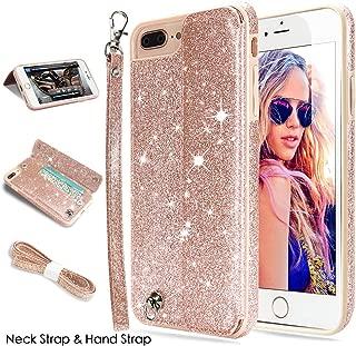 iPhone 8 Plus Case,iPhone 7 Plus Case,CASEOWL iPhone 8 Plus/7 Plus Wallet Case Glitter Leather Flip Card Holder,Wristlet,Neck Strap,Kick-Stand,Shockproof Case for iPhone 8 Plus/7 Plus-Bling Rose Gold