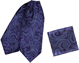 Epoint Men`s Fashion Wedding Paisley Cravat Silk Ascot Tie Hanky Set