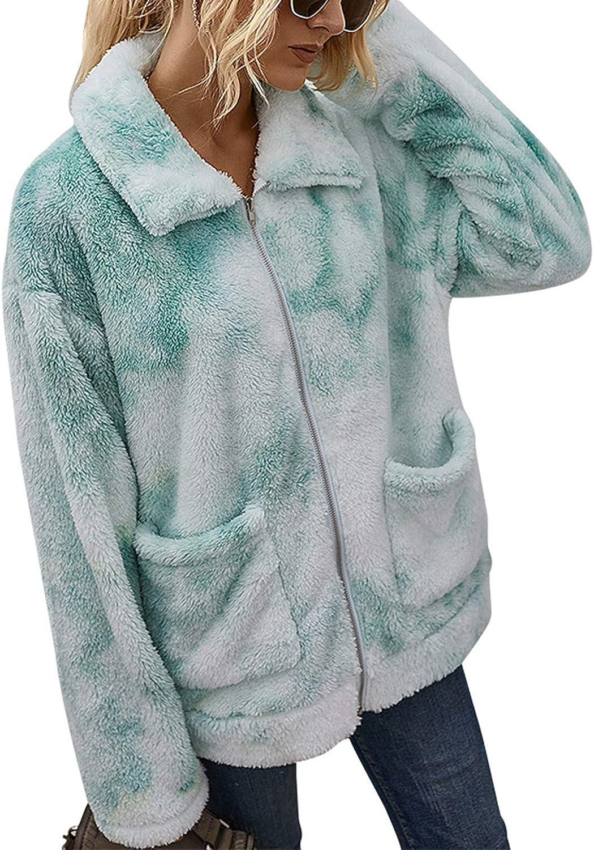 Women's Tie Dye Coat Lapel Fleece Fuzzy Faux Shearling Zipper Coats Warm Winter Oversized Outwear Jackets