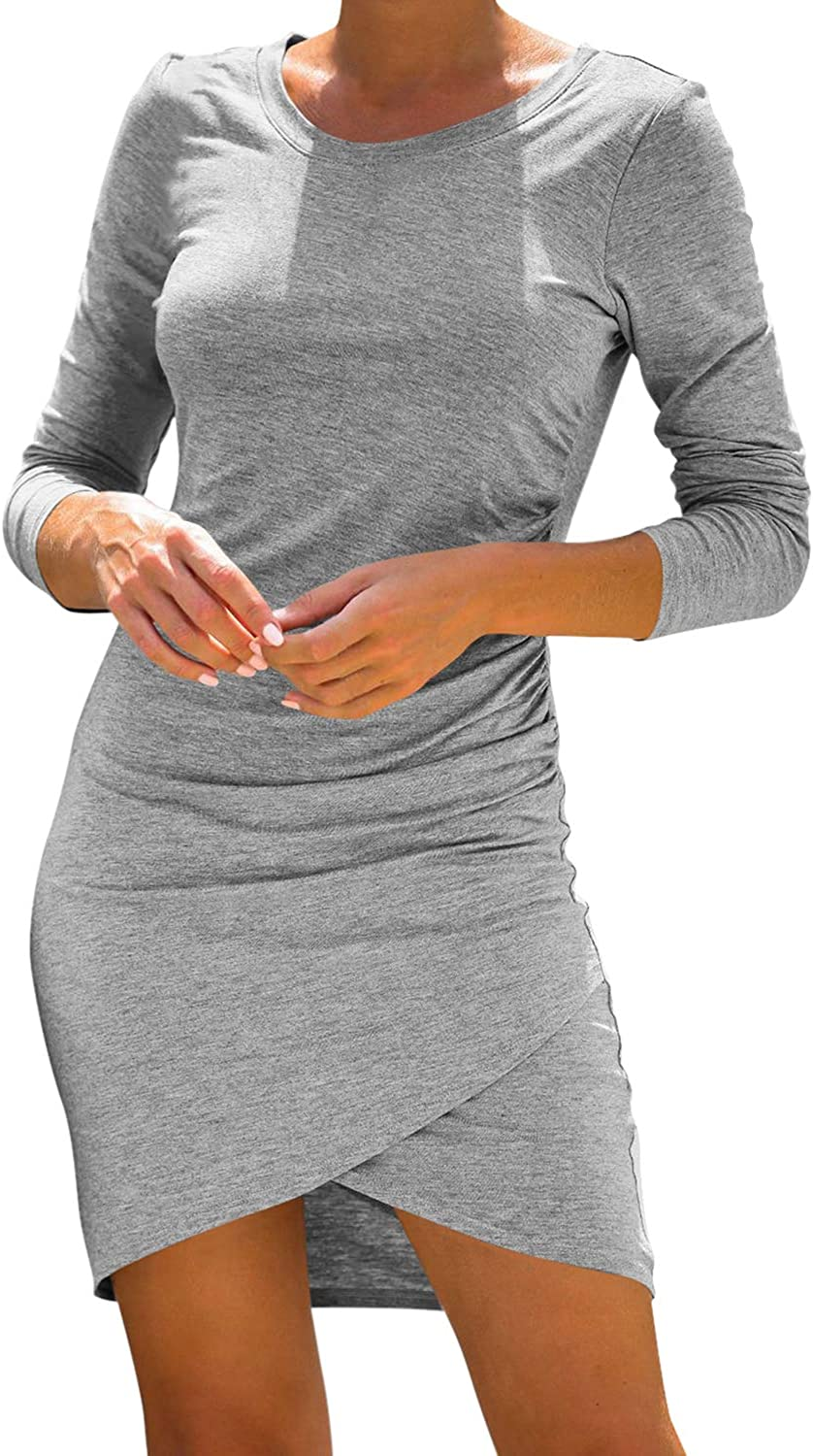 LaSuiveur Women's San Jose Our shop most popular Mall Casual Long Sleeve Bodycon Wrapped T Ruched Sh