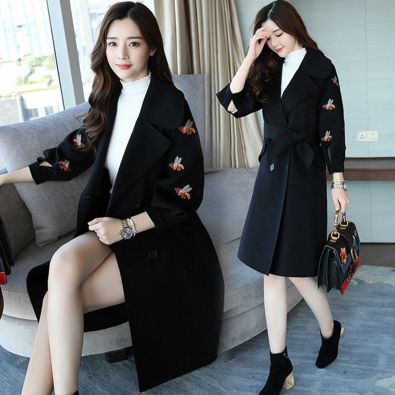 LD Stylish Long Coat Jacket Female Long Sleeve Temperament Elegant Sweet Bow Knot Clothing