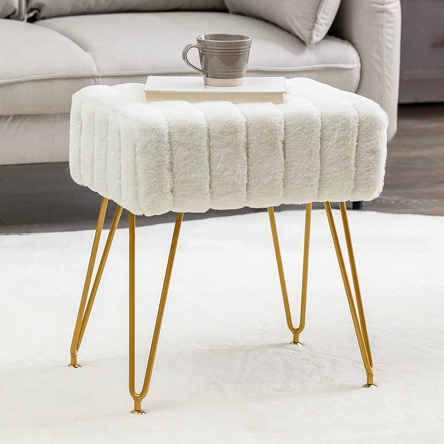 Modern Mink Square Footstool Ottoman Vanit low-pricing Max 85% OFF Faux Bench Fur White