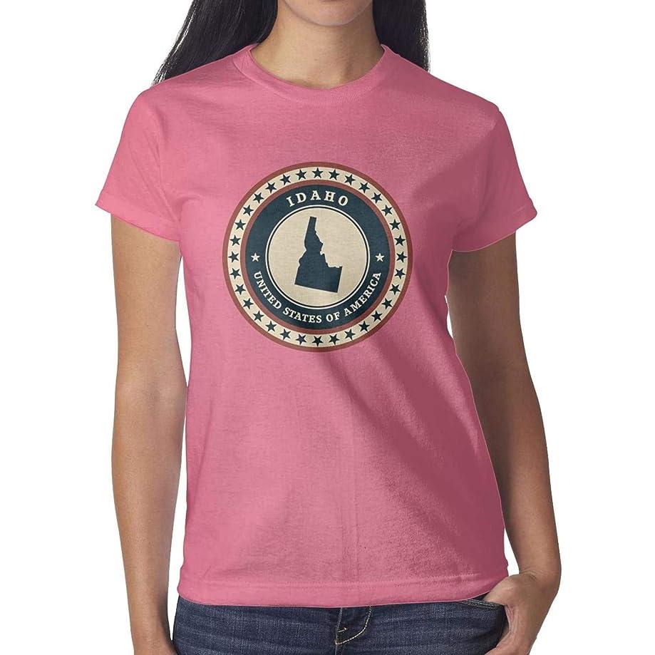 YHNUPOII Women Idaho USA Vinyl Sticker Short Sleeve T Shirts Cotton Patriotic Environmentally Friendly T-Shirts