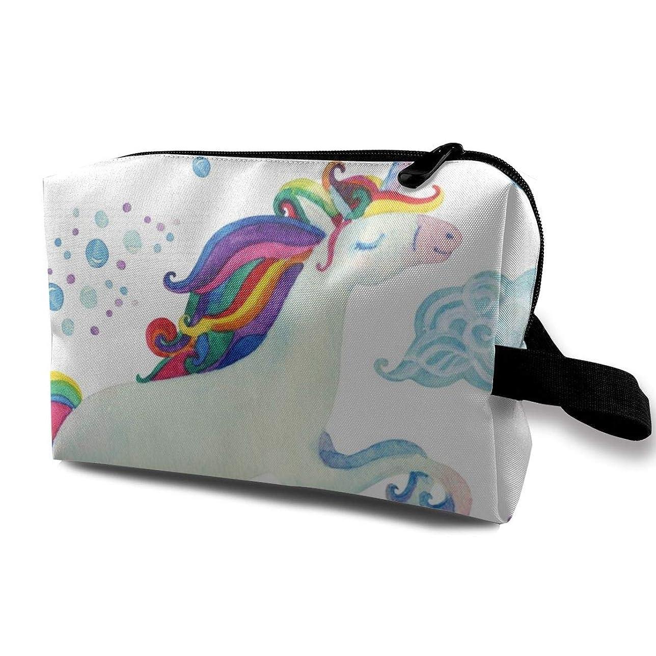 別々にギャラントリー無視するフライングユニコーンと水彩 化粧バッグ 収納袋 女大容量 化粧品クラッチバッグ 収納 軽量 ウィンドジップ