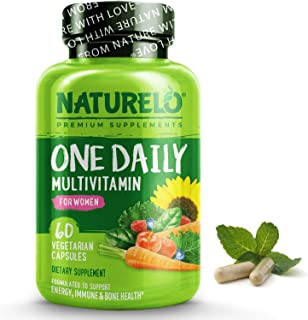 NATURELO One Daily Multivitamin for Women - Natural Energy Support - Whole Food Supplement to Nourish Hair, Skin, Nails - ...