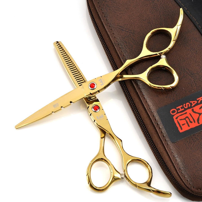 かすれたかすれた学習者シザー 髪切り ハサミ ヘアカット 6インチ 美容師 理容師 セルフカット セニング 日本ステンレススチール製 家庭用 (Color : 6.0 Red thinning scissors)