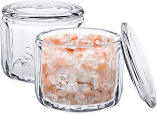 Nicunom クリアガラスソルトセラー 蓋付き 塩保存容器 ソルトボックス レトロスタイル キッチン装飾 ウェディングギフト 奥行き3.75インチ x 高さ3.15インチ