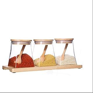 KAYBELE Assaisonnement des Bouteilles d'assaisonnement cassering casser la boîte à Condiment sertie de la cuillère en Bois...
