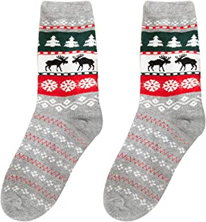 BigBig Style, 1 par de calcetines navideños de algodón peinado, unisex, para adultos