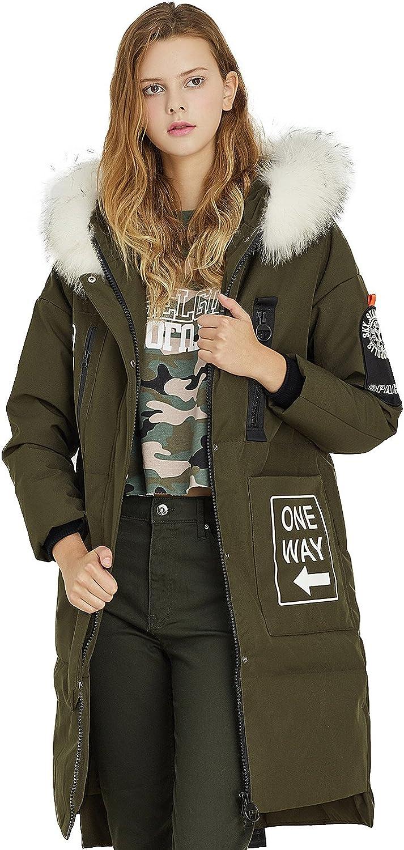 BOSIDENG Women's Winter Down Coat Thick Young Printing Long Fur Basic Outerwear