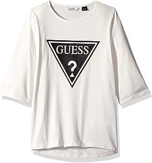 GUESS Girls' Big Half Sleeve Triangle Logo T-Shirt