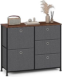 Byrå smal skåp med 5 lådor i tyg tv skåp sidobord skåp metall för kök vardagsrum sovrum kontor hall stål trä matt svart mö...