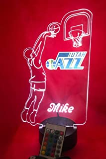 Utah Handmade Acrylic Personalized Jazz NBA Basketball Player Light Up Light Lamp LED Table Lamp, Our Newest Feature - It's WOW, Comes With Remote,16 Color Option, Dimmer, Free Engraved, Great Gift