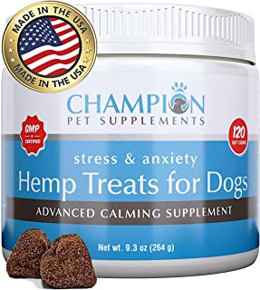 Calming Treats for Dogs, Made in USA, Organic Hemp Oil Infused Soft Chews for Dog Anxiety Relief, Stress, Anxiety, Storms, Barking, Separation and More, Organic Ingredients, 120 Count