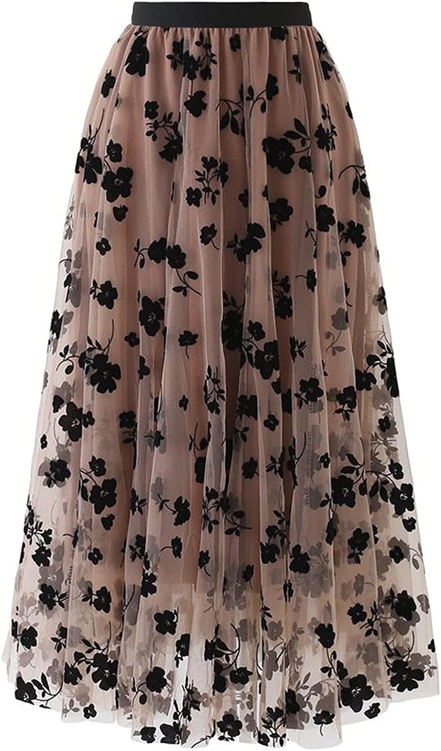 WinVic High Waist Long Skirts for Women Summer Elegant Mesh Floral Print Pleated A-Line Flared Maxi Skirt