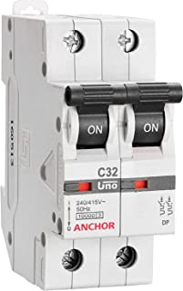 Anchor by Panasonic 98018 UNO Series 10 Ampere Dual Pole C Curve MCB, White